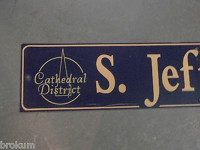 "Vintage S. JEFFERSON av Cathedral District Street Sign 48"" X 9"" -GOLD on NAVY 2"
