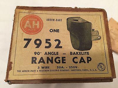 Vintage NOS Arrow Hart Hegeman Bakelite Range Cap 90 angle 3 wire 50A-250V AH&H 8