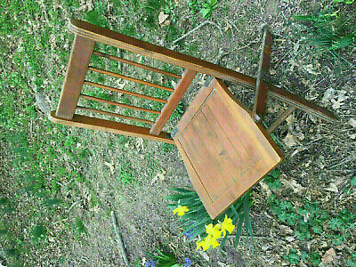 Antique Vintage Americana Wooden Folding Chairs with wooden Seats 2