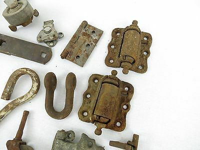 Lot of Antique Architectural Salvage Hooks Door Hardware Hinges casters wheels 4