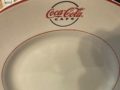 """Gibson Dinnerware Coca Cola Cafe Diner Pat. Large  Dinner Plate 11 1/2"""" Red Trim 4"""