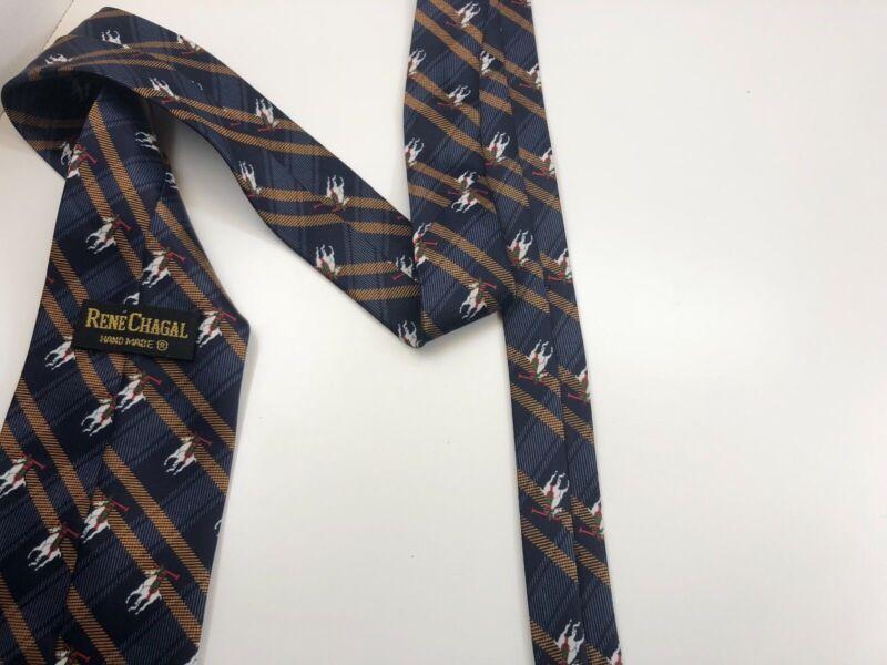 Authentic Rene Chagal Mens Tie 100% Silk Tie Polo Equestrian Blue Handmade 6