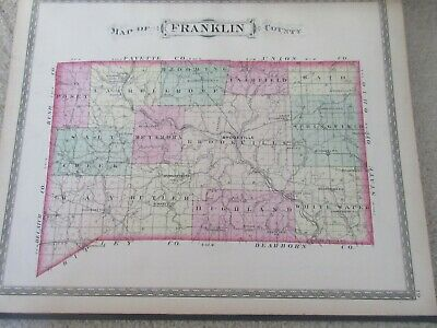 First Atlas of Franklin County Indiana 1882 handcolored maps, ports., landowners 7
