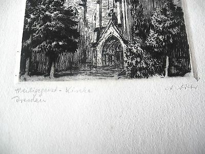 Original Radierung Dresden Heilig-Geist-Kirche signiert  A.Ador 1920er Jahre
