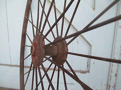 """Antique 28"""" pair IRON WHEELS industrial - steampunk SALVAGED modern design PARTS 8"""