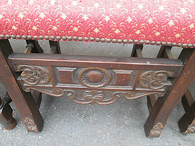 54337  Set 6 Antique Walnut Carved Jacobean Dining Chairs Side Chair s w Cushion 8