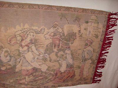 BELGIUM Made, Vintage Rug Wall Hanging Tapestry w Fringe, Woman Dancing SUPERB! 12