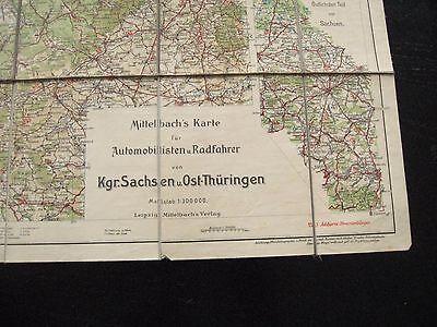 alte Mittelbachs Karte für Rad u.Autofahrer vom Kgr. Sachsen u.Ost Thüringen