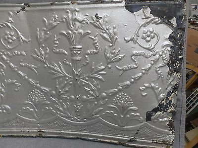 1 Salvaged Antique Tin Ceiling Decorative Pattern Old Vtg Torch Trim Edge 150-16 4