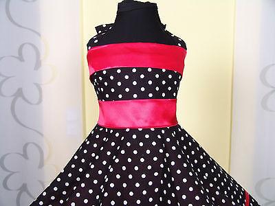 Mädchen 50-erJahre zum Petticoat Tanz,Einschulung Kleid Gr.104-154 Schwarz//rot.