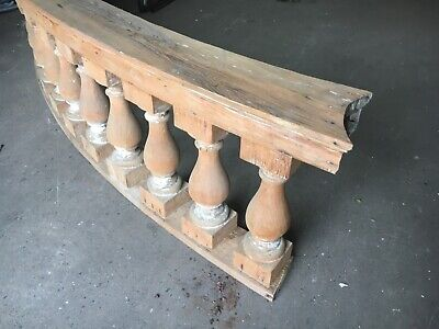 "c1890 curved porch balustrade 10' x 25"" x 8.5"" HUGE BEEFY spindle 19.5"" x 5.5"" 6"