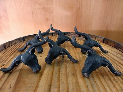 6 BLACK STEER BULL DRAWER CABINET PULL HANDLE KNOB VINTAGE-STYLE WESTERN decor 4
