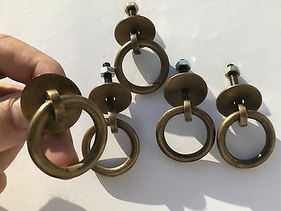 """5 small round door handle KNOB aged old Brass PULL ring kitchen 1.1/2"""" heavy B 8"""