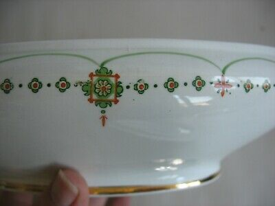 VINTAGE CROOKSVILLE CHINA STINTHAL Cov Veg dish Deco Nouveau Green orange 9