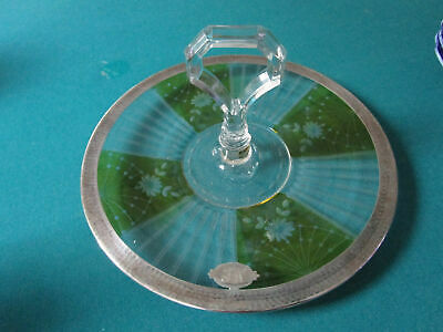 Antique Sterling  Etched Glass Footed Dish Coasters Bowl Cake Plate Shaker Pick 10