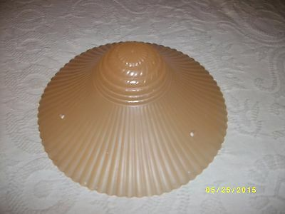 Vintage or antique glass ceiling light fixture shade 3 hole tan rope drape 3