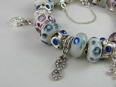 """SWEET 925 STAMPED SILVER 20cm EUROPEAN STYLE CHARM BRACELET """" MERRY PLAYGROUND """" 10"""