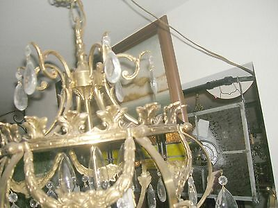 Reduced!! Fabulous Embossed Brass&Crystal  Chandelier Nashville Architect. Salv. 10