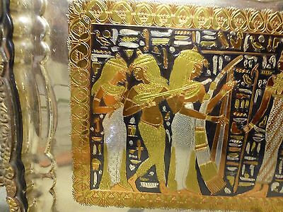 Antique Egyptian Storyline Ornately Engraved Silver, Brass, Copper, Pewter Tray 3