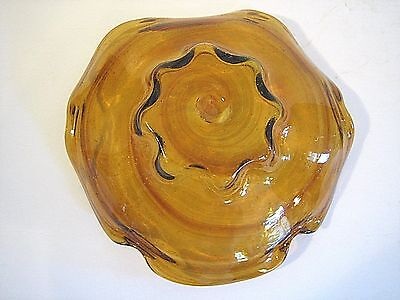 Amber Brown Glass Bowl Swirl Compote Fruit Grapes Modernism Display Centerpiece 4