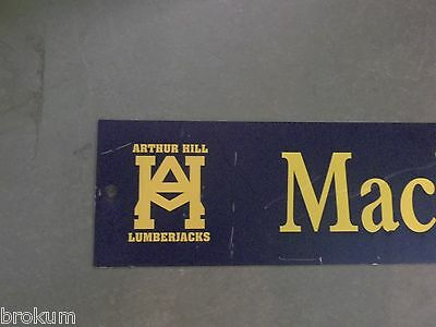"Vintage MACKINAW st ARTHUR HILL LUMBERJACKS Sign 48"" X 9"" -GOLD on NAVY Ground 2"