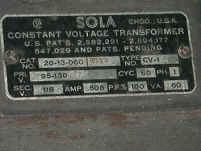 SOLA CV-1 TUBE Amplifier Variac Constant Voltage Transformer 95-130V: 118V