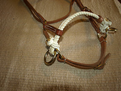 Western harness leather double rope side pull USA natural custom cowboy  H4005 5