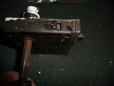 #56H antique vtg  metal door knob AS IS  with  lock 8
