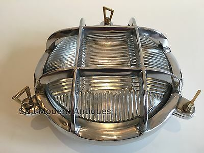 Industrial Bulkhead Light Wall Ceiling Silver Marine Aluminium Round Nautical 5