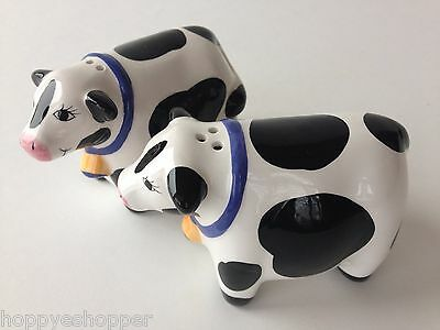 Salt & Pepper Shakers Handcrafted Ceramic COWS BLACK WHITE COW Mint 2