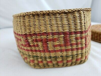 Nice native american? hexagonal covered weaved box 4