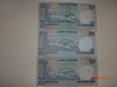 INDIA PAPER MONEY- 3 'mg' Notes - Rs  100/-Year 'nil'-3 Signs-G-46,g52 &  59#eaf