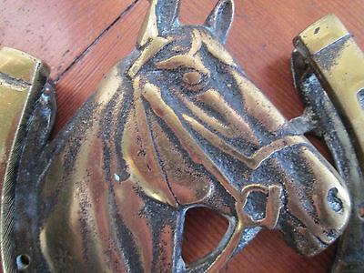 Old Brass Horse head horse shoe door knocker 4