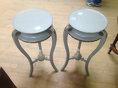 pair french victorian grey painted ormolu torcheres plant candle stand jardinier 10