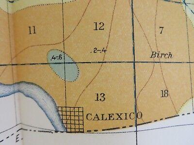 1901 ANTIQUE MAP Imperial California Mesquite Lake Calexico 15 X 24