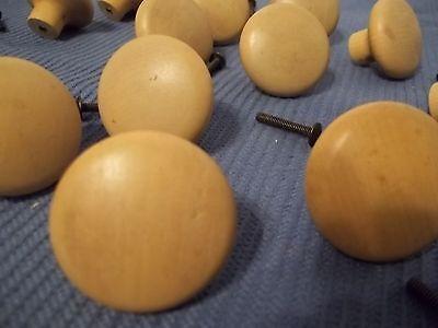 Vintage (13) Set Lot Solid Wood Brass Screw Insert Round Knobs Drawer Pulls 5