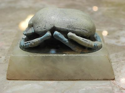Zurqieh - Ancient Egypt , Rare & Large Egyptian Blue Scarab. 1065 - 300 B.c