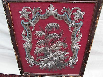 Beautiful Victorian Bamboo Antique Firescreen With Floral Glass Bead Work 3