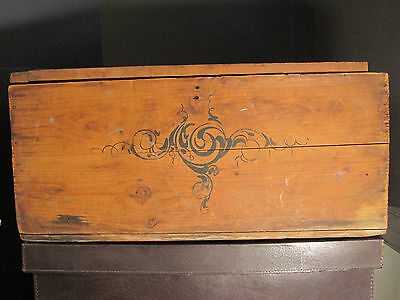 Antique Victorian American Folk Art Painted Trunk Bailey Somerville Ma Boston 2