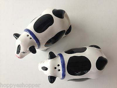 Salt & Pepper Shakers Handcrafted Ceramic COWS BLACK WHITE COW Mint 3