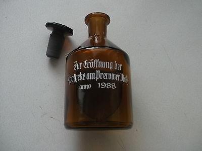 Apothekerflasche - Steilbrust - Braunglas - Glasstopfen - Apothekeneröff. 1988-