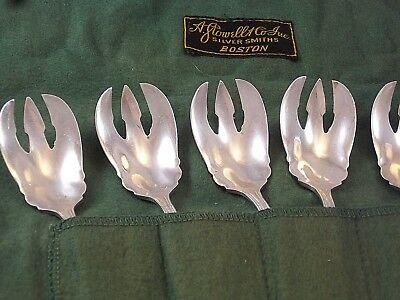 European Silver Plate Set Of 7 Ice Cream Forks Spoons Not Marked French ?