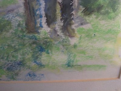 Watercolor Original Painting Art Quick sketch NICELY FRAMED UNSIGNED MAN WOODS 4