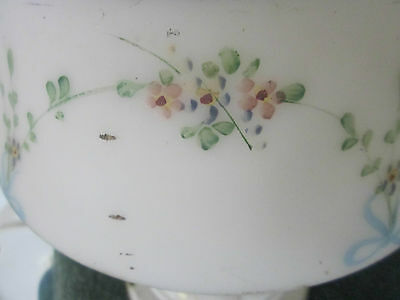 Vintage ceiling light w/glass globe. So shabby with pink,blue,yellow flowers. 3