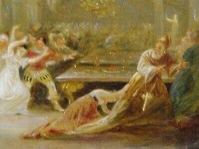 Unusual 18th 19th Century Skeleton Devil Demon At The Banquet Antique Painting 6