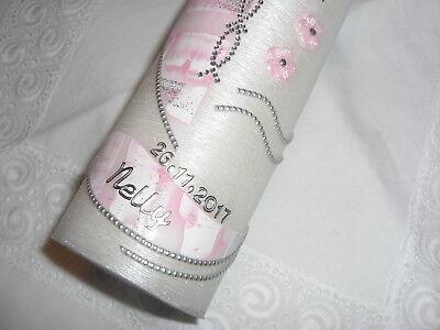 Taufkerze Taufe Kerze quer gebürstet perlmutt  rosa silber 250x60 Flechtkreuz
