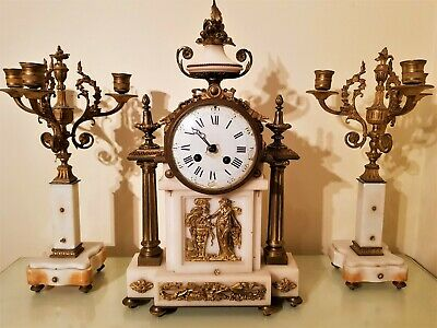 Large Antique French Ormolu and White Marble Mantel Clock. 2
