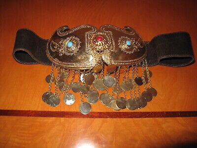 Rare Tribal Belt Buckle Bulgarian Balkan Pafti With Bonwit Teller Leather 5