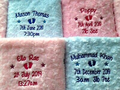 Personalised Baby Blanket Embroidered Soft Fluffy Gift 7
