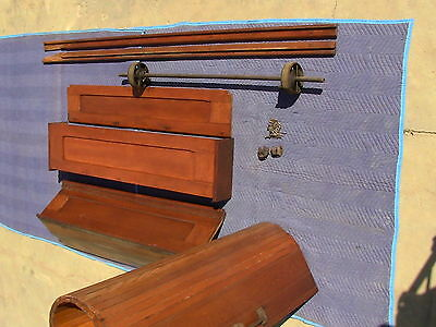 Victorian Antique Oak Wood Tambour Door Partition Overhead Roll Up Parlor Entry 11